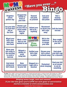 """Moms Confess """"Have you ever. A fun party game for baby showers, moms' club meetings, moms' night out and moms' night in events. Visit our website, join our email list to access the free high quality printable. Games For Moms, Baby Games, Moms' Night Out, Girls Night Out, Ladies Night, Girl Night, Girls Night In Games, Mother's Day Games, Fun Party Games"""