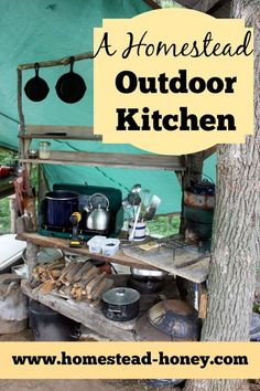 In the summer months, we move our homestead kitchen outdoors! Here's how we have set up a functional, low-cost outdoor kitchen for cooking or canning. | Homestead Honey