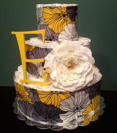 Modern Yellow & Gray Floral Print Custom by DiapersAndDoodads, $60.00