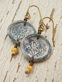 Country Blue Blooms Earrings by TreeWingsStudio, via Flickr