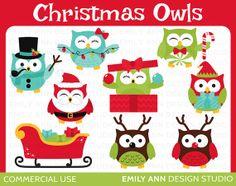 DOLLAR SALE - Owls Christmas Santa Elf Reindeer Snowman Cute Clip Art - Commercial Use - Scrapbooking Invitations Cards - Instant Download