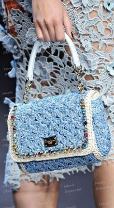 Dolce & Gabbana Miss Charles Crochet Tote This stunningly gorgeous Dolce & Gabbana Miss Charles Crochet Tote is so summery and resh. I love the soft pastel blue color. Crochet Tote, Crochet Handbags, Crochet Purses, Diy Sac Pochette, Dolce And Gabbana Handbags, Purse Patterns, Knitted Bags, Crochet Fashion, Crochet Accessories