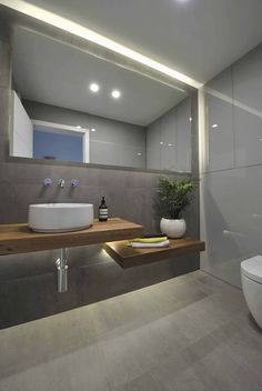 New bathroom mirror design modern powder rooms ideas Ensuite Bathrooms, Grey Bathrooms, Bathroom Renos, Bathroom Interior, Small Bathroom, Bathroom Wood Shelves, Bathroom Mirror Lights, Bathroom Storage, Wall Mirror Ideas