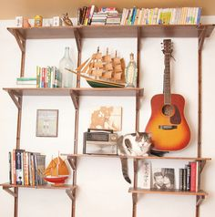 Adjustable Wall Shelving Unit Upcycled.... Great idea