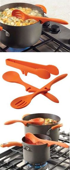 Lazy Utensils Set - Clip them on the edge of any pot to prevent drips & spills. This would be perfect for me!