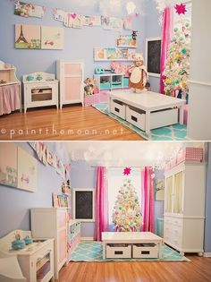 Clothesline for artwork!  Playroom.. I have this EXACT table woohoo it looks cute here PaMi will love it