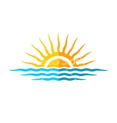sun and wave Travel logo template sun with sea waves vector by - Image Beach Logo, Sunset Tattoos, Sun Logo, Waves Vector, Waves Logo, Sun And Water, Sun Art, Sea Waves, Am Meer