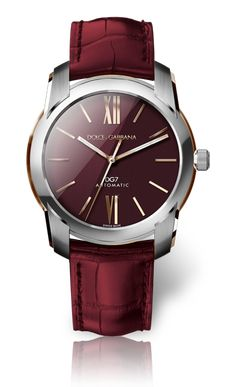Steel and Gold Watch for Men with Burgundy Dial - D&G Watches | Dolce & Gabbana Watches for Men and Women