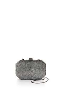 Hex Minaudiere - Take your evening look to the next level with this little number. It features an interior snakeskin chain so you can wear it on your shoulder or as a clutch.