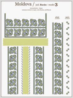 Popular Folk Embroidery Semne Cusute: traditional Romanian blouse from MOLDOVA, Bacau county Simple Cross Stitch, Cross Stitch Borders, Cross Stitching, Cross Stitch Patterns, Hardanger Embroidery, Embroidery Motifs, Embroidery Ideas, Romanian Gypsy, Moldova