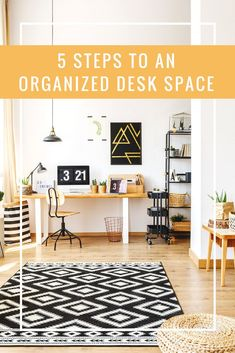 If you're in need of an organized desk space, these five steps will help get you there. It's time to stop drowning in unnecessary papers and other random items and create a space that works for you and not against you. Office Organization At Work, Desktop Organization, Office Ideas, Organization Ideas, Organizing Tips, Office Decor, Small Home Offices, Home Office Desks, Supply Room