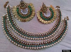 Designer Ram Leela earings & Anklets with green colour stones giving a unique look.