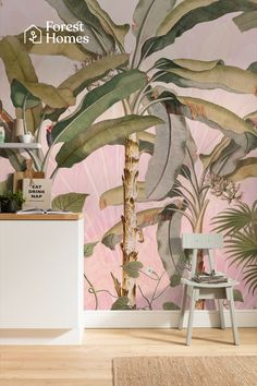 Buy at Forest Homes this beautiful Tropical mural wallpaper in stunning shades of pink. A dreamy tropical jungle mural to create exquisite nature inspired looks. Luxury Wallpaper, Unique Wallpaper, Wallpaper Decor, Nature Wallpaper, Beautiful Wallpaper, Pattern Wallpaper, Wall Art Designs, Wall Design, Design Shop