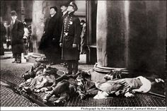 Triangle Shirtwaist Company Fire 1911 always kept its doors locked to ensure that the young immigrant women stayed stooped over their machines & didn't steal anything. A fire broke out on Sat., March 25, 1911, on the eighth floor of the New York City factory, the locks sealed the workers' fate. In just 30 minutes, 146 were killed.(the scene can be viewed now as an eerie precursor to the World Trade Center events of 9/11 only a mile and a half south). a national crusade for workplace safety.