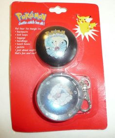 Butterfree Tin Dangle - Keychain - Pokemon vtg 1999 Metal Key Chain Container Go #Nintendo