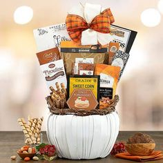 Thanksgiving Gift Baskets - Thanksgiving Gift Basket Holiday Gift Baskets, Holiday Gifts, Smoked Gouda Cheese, Thanksgiving Wishes, Pumpkin Spice, Yummy Treats, Snack Recipes, Free Shipping, Sweet