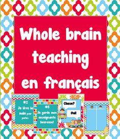 Voici un ensemble pour enfin enseigner à l'aide du Whole Brain Teaching (WBT) en français.  Il contient : 1 page titre 1 page de crédits 5 affiches des règles 4 affiches des principales stratégies du WBT 1 affiche pour consigner les points de la classe et favoriser le bon fonctionnement de la méthode. $TPT