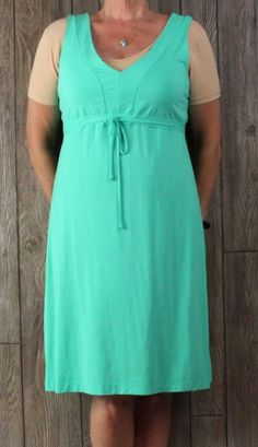 Cute Fresh Produce Dress M L size Green Vneck Tank Womens Rayon USA Made Beach Comfort
