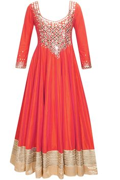 Coral sequins embroidered anarkali suit available only at Pernia's Pop-Up Shop.