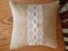 Handmade burlap & lace ring bearer pillow