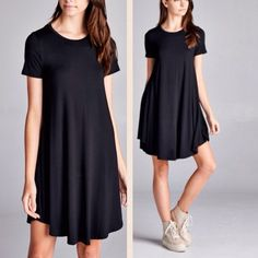 CUTE & COMFY- Perfect little black dress Comfy, stretchy and super cute little black dress. Round neck, short sleeves and rounded hems. Soft jersey knit material. Made in USA. Material: 95% rayon, 5% spandex. Dresses