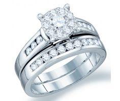 Diamond Engagement Ring Bridal Set Wedding Band 14k White Gold (.94ct) #Diamond #wedding #Bridal #Ring #fashion #Jewelry #White