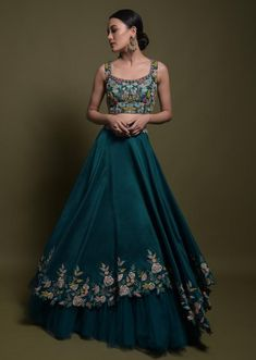 Teal Lehenga Choli In Cotton Silk With Fancy Cutout Hemline And Floral Embroidery Online - Kalki Fashion Dress Indian Style, Indian Fashion Dresses, Indian Designer Outfits, Designer Dresses, Designer Lehanga, Indian Designers, Frock Fashion, Floral Fashion, Fashion Outfits