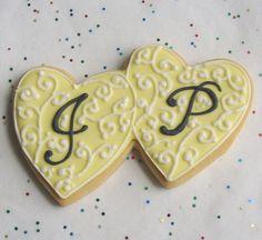 Heart Wedding Cookie Favors Double Heart Cookie by lorisplace