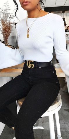 high waisted black jeans + white long sleeve