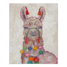 Watercolor Festival Llama Poster - Did you know Llama's and Alpaca's are symbols of perseverance strength communication and confidence which leads to success? My Canvas, Canvas Wall Art, Canvas Prints, Art Prints, Canvas Ideas, Canvas Size, Alpacas, Thing 1, Colorful Paintings