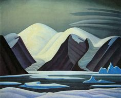"""Greenland Mountains,"" Lawren S. Harris, ca. oil on canvas, National Gallery of Canada. Emily Carr, Group Of Seven Artists, Group Of Seven Paintings, Landscape Quilts, Abstract Landscape, Landscape Paintings, Impressionist Landscape, Abstract Paintings, Canadian Painters"