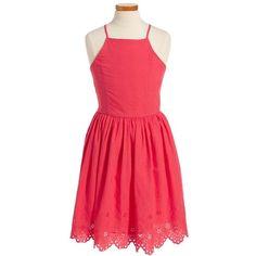 eyelet dress   Nordstrom ❤ liked on Polyvore featuring dresses, red eyelet dress, eyelet dresses and red dress