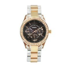 Fossil Women's ES2806 Stella Two Tone Bracelet Brown Dial Watch Fossil. $101.70. Mineral crystal. Gold tone case. Brown dial. Water-resistant to 300 feet (100 M). Two tone