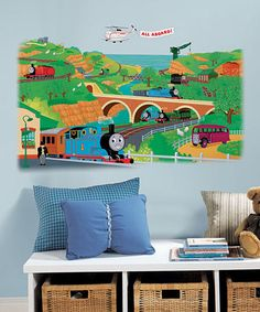 Thomas The Tank Engine Peel And Stick Wall Murals   Thomas The Train  Removable Wall Decals And Growth Charts For Decorating Boys Rooms