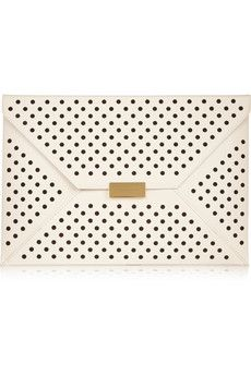 Stella McCartney Beckett perforated faux leather clutch  | NET-A-PORTER #clutch #leather