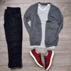 Outfit grid - The timeless striped T-shirt