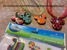 DIY Disney Epoxy Stickers To Reversible Jewelry.  Cute idea to create jewelry with the Mickey Mouse head look.  Instructions from Bacon Time With The Hungry Hypo blog