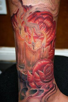 Red Roses and Candle Tattoo - Alexis Vaatete http://tattoosflower.com/red-roses-and-candle-tattoo-alexis-vaatete/