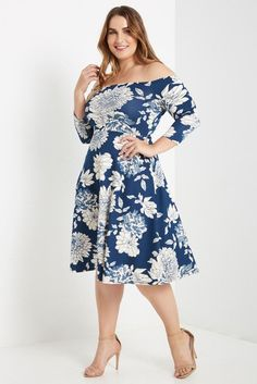 0b8634b6a744e Melody Floral Off the Shoulder Fit and Flare Dress Plus Size