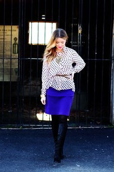 flowy top and slim skirt, polka dots and leopard (!), love the boots, love sydney @the daybook