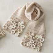 Crochet flowers appliquéd on scarf, not just a few, a buch of them pressed tightly together ~~ White and ecru ~~ Love this colour! like tea with milk もっと見る もっと見る Crochet Flower Scarf, Crochet Art, Freeform Crochet, Crochet Scarves, Irish Crochet, Crochet Shawl, Crochet Clothes, Crochet Flowers, Crochet Stitches
