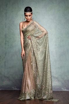 Heavily embroidered #saree by Tarun Tahiliani for the Indian Couture Exhibition 2013.