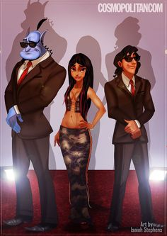 Princess Jasmine (Aladdin) as Christina Aguilera. And Aladdin and Genie (out of a bottle) as her security guards.
