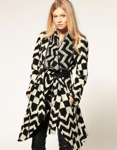 Oasis wrap coat in geo check  $165