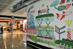 Wall graphics at Orly Airport, Paris.  On my way to Romania
