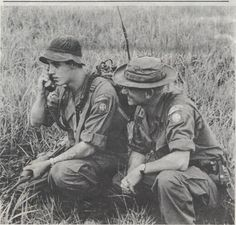"""Father and son members of Company O 75th Infantry, the Ranger company attached to the 3rd Brigade 82nd Airborne Division in Vietnam, wearing full 82nd patch with """"Long Range Patrol"""" scrolls. PFC Victor Robinson was an RTO with the company when his father, Staff Sergeant Carl Robinson, was assigned to the company as supply sergeant in June 1969."""