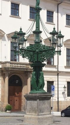 Art nouveau street lights in Prague