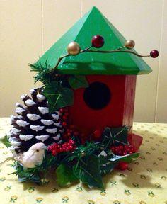 Christmas Birdhouse Decorative Christmas by BelleMistique on Etsy Christmas Fairy, Etsy Christmas, Country Christmas, Christmas Home, Vintage Christmas, Christmas Ideas, Birdhouse Craft, Birdhouse Designs, Birdhouses