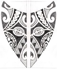 A Polynesian Tattoo Design in Shield Style.