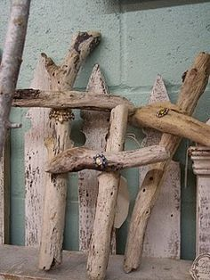 driftwood crosses.